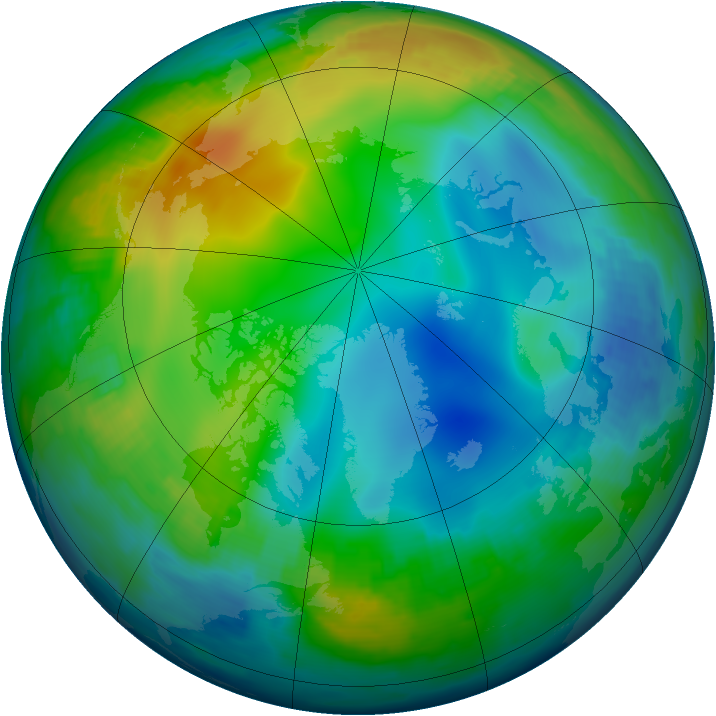 Arctic ozone map for 30 November 1997